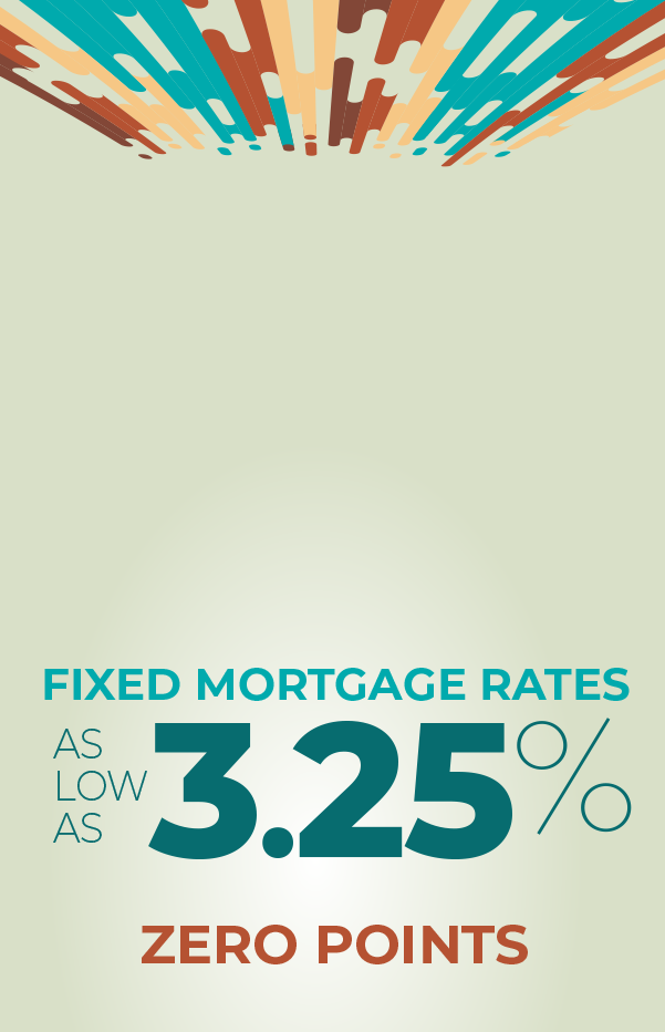 fixed mortgage rates as low as 3.25% with zero points.