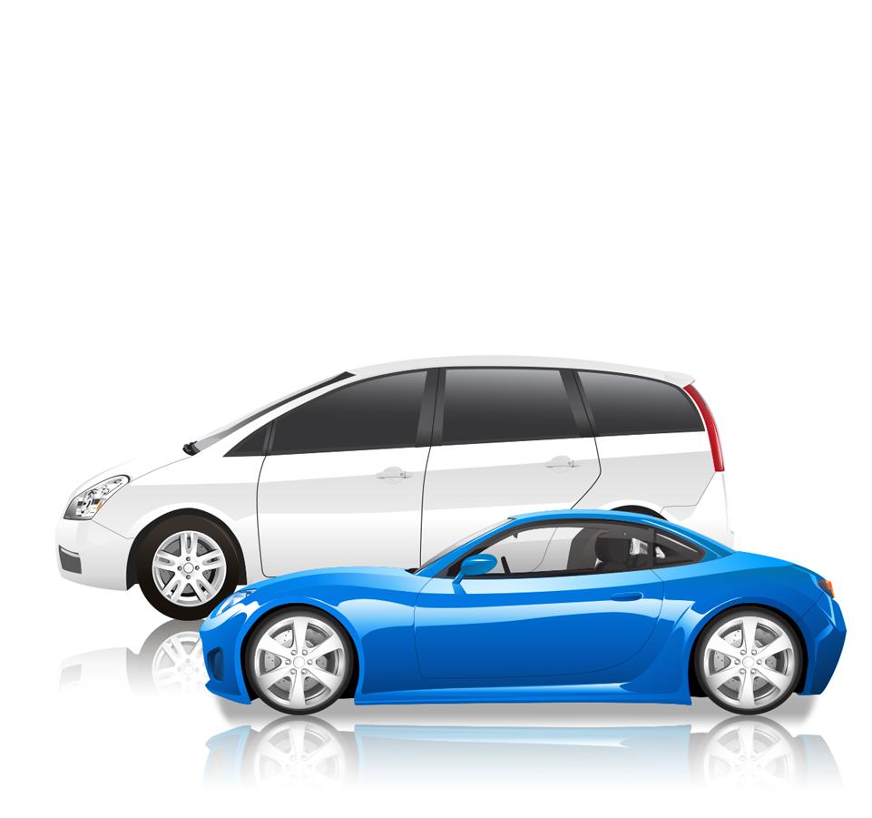 A blue sports car and a white SUV