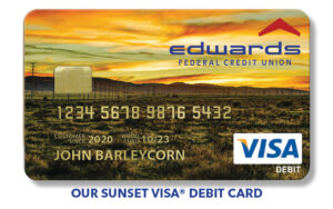 Show you are Antelope Valley Proud with Our New Debit Visa cards showing sunset