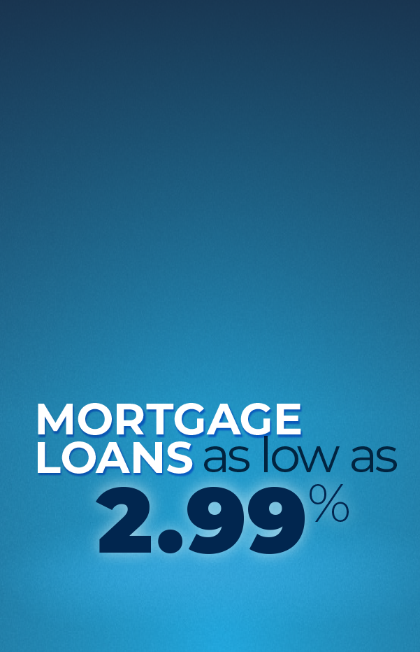 Super Low Rate Mortgage Loans next to a house and dollar icon